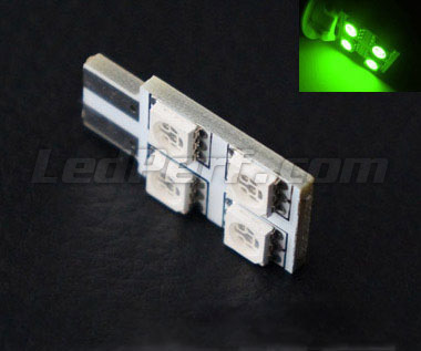 LED T10 Rotation de 4 LEDs HP - Iluminación lateral - Verde W5W